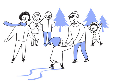 Vector illustration of happy family spending time each other. 019 Illustration
