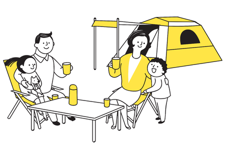 Vector illustration of happy family spending time each other. 005