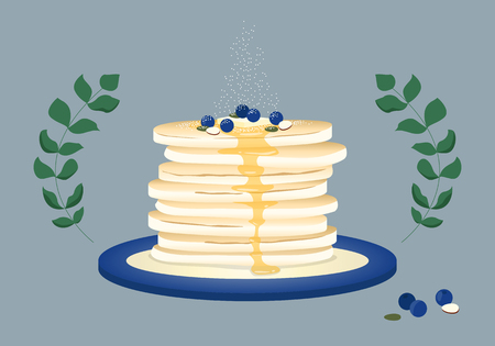 Pancakes with blueberries and sugar.