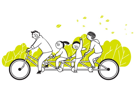 Vector illustration of happy family spending time each other. 003