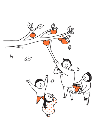 Vector illustration of happy family spending time each other. 010
