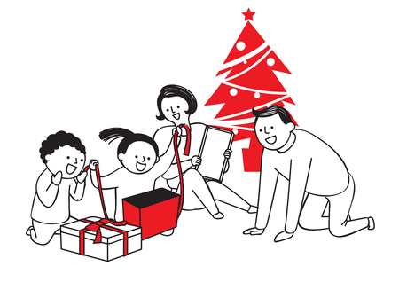 Vector illustration of happy family spending time each other. 012