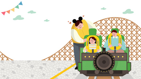 Vector illustration of children and their parent having fun in an amusement park. 001