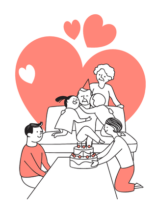 Vector illustration of happy family spending time each other. 017