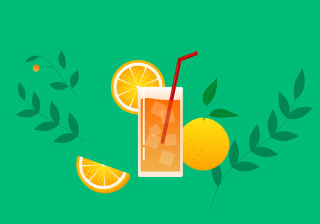A glass of orange juice and sliced oranges.