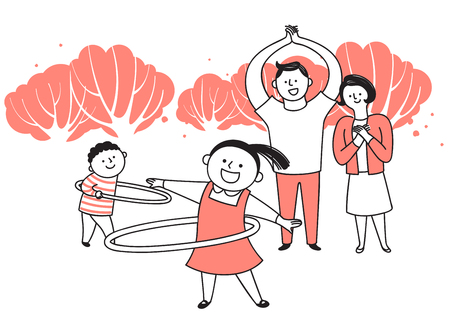 Vector illustration of happy family spending time each other. 004 일러스트