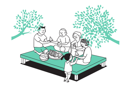Vector illustration of happy family spending time each other. 020 Illustration