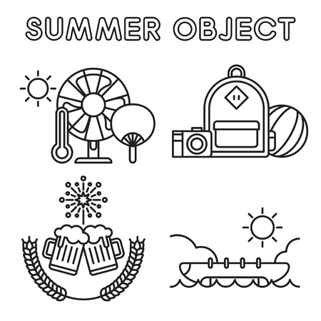Vector - Thin line flat design concept for Summer object set. Set of color flat design concept for Summer object. 017