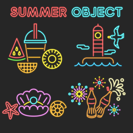 Vector - Thin line flat design concept for Summer object set. Set of color flat design concept for Summer object. 024