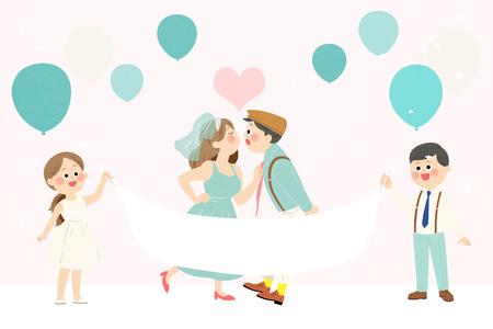 Vector - Self-wedding concept vector illustration. A couple in love. 020