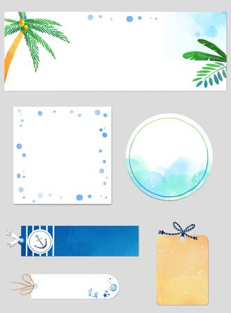 Vector - Template frame design for banner, placard, invitation. Summer background. 004