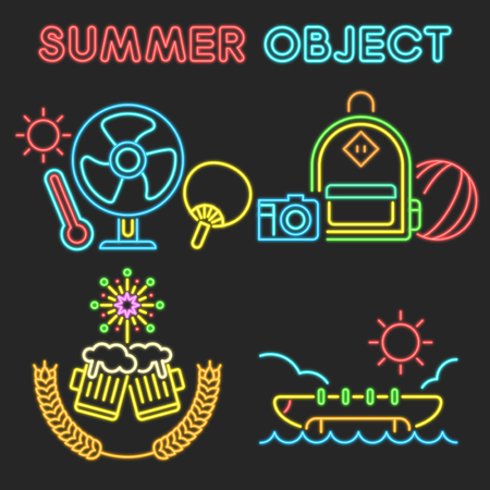 Vector - Thin line flat design concept for Summer object set. Set of color flat design concept for Summer object.