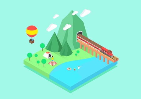 Vector - flat design for summer island. 006