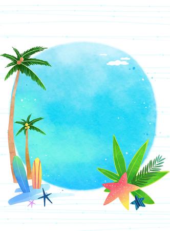 Vector - Template frame design for banner, placard, invitation. Summer background. 015 Illustration