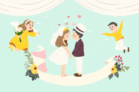 Vector - Self-wedding concept vector illustration. A couple in love.