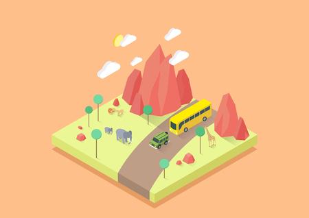 Vector - flat design for summer island. Illustration