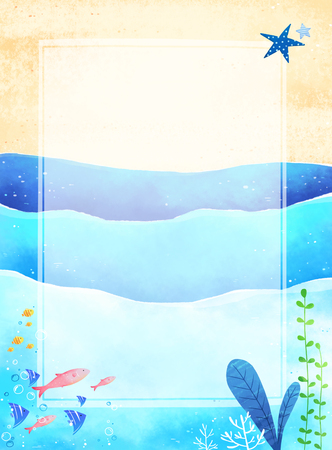 Vector - Template frame design for banner, placard, invitation. Summer background.