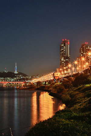 Night scene in Seoul, beautiful color light and outdoor photo. 032 Foto de archivo