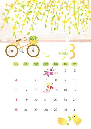 Vector - Calendar for 2018 Year on White Background, season concept illustration 003