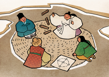 Vector illustration-  children play traditional Korean games. vintage concept illustration. 009