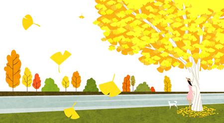 Vector of autumn landscape, colorful background 001
