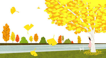 Vector of autumn landscape, colorful background 001