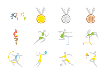 Simple linear pictogram, Olympic concept set 001 Illustration