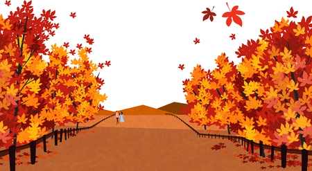 Vector of autumn landscape, colorful background 003 向量圖像