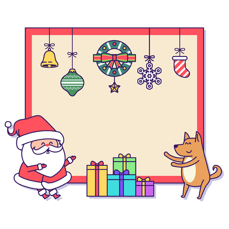 Christmas banner illustration. Vector banners with Santa Claus and gold puppy isolated on white. 022