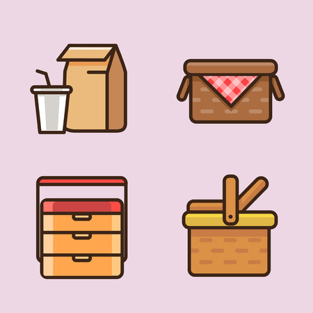 Vector- flat icon set. concept for honey bee, flowers, gift set, traditional food and so on. 038