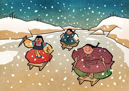 96d481d9e59 Vector illustration- children play traditional Korean games. vintage  concept illustration. 003 Illustration