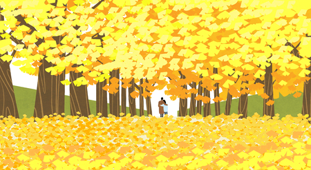 Vector of autumn landscape, colorful background 010