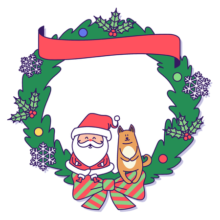 Christmas banner illustration. Vector banners with Santa Claus and gold puppy isolated on white. 015