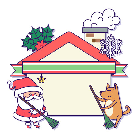 Christmas banner illustration. Vector banners with Santa Claus and gold puppy isolated on white. 040