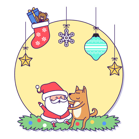 Christmas banner illustration. Vector banners with Santa Claus and gold puppy isolated on white. 037