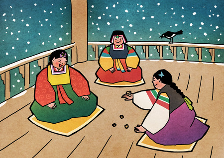 Vector illustration-  children play traditional Korean games. vintage concept illustration. 007 일러스트