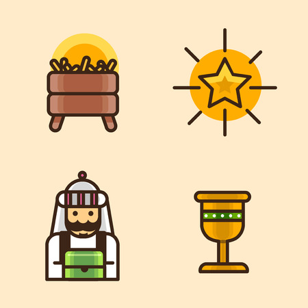 Vector- flat icon set. concept for honey bee, flowers, gift set, traditional food and so on.066 Illustration