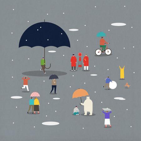 Illustratie - Mensen genieten van verschillende buitenactiviteiten. 009