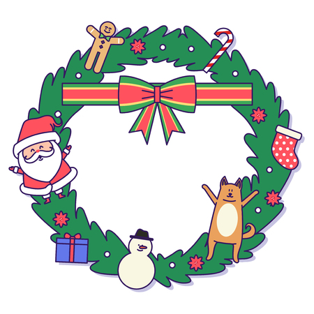 Christmas banner illustration. Vector banners with Santa Claus and gold puppy isolated on white. 014 Illustration