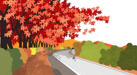 Vector of autumn landscape, colorful background 007