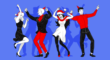 Christmas party concept with group of friends vector illustration 006