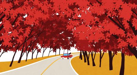 Vector of autumn landscape, colorful background 012