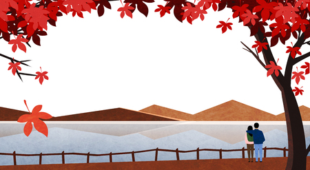 Vector of autumn landscape, colorful background 002 向量圖像