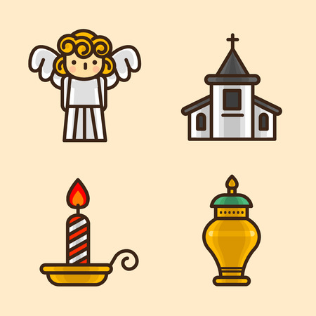 Vector- flat icon set. concept for honey bee, flowers, gift set, traditional food and so on.068