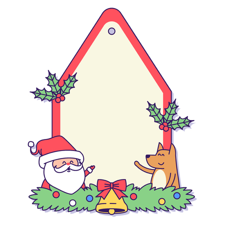 Christmas banner illustration. Vector banners with Santa Claus and gold puppy isolated on white. 009 Illustration