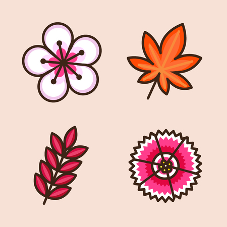 Vector- flat icon set. concept for honey bee, flowers, gift set, traditional food and so on. 016