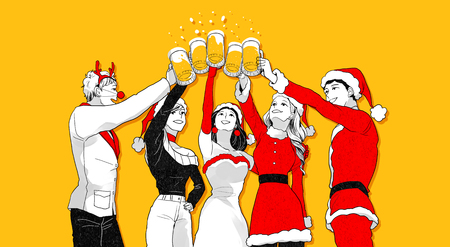 Christmas party concept with group of friends vector illustration 003 Illustration
