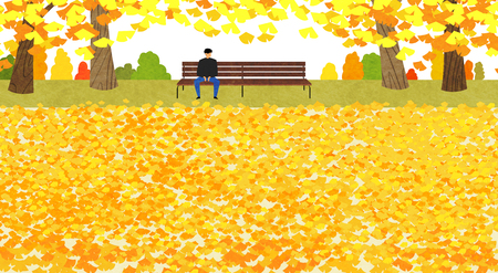 Vector of autumn landscape, colorful background 004
