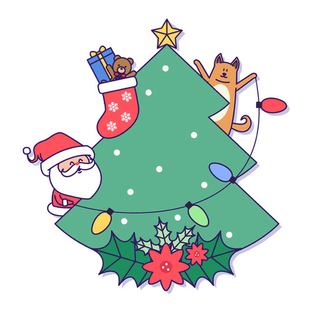 Christmas banner illustration. Vector banners with Santa Claus and gold puppy isolated on white. 019