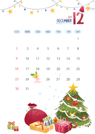 Vector - Calendar for 2018 Year on White Background, season concept illustration 012